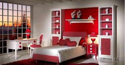 Kırmızı Renk Genç Odası Modelleri